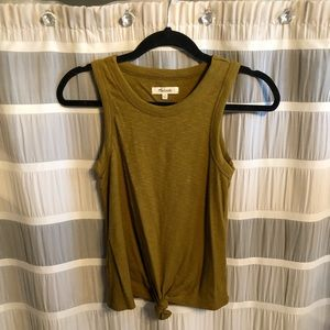 Madewell Olive Tie Front Tank